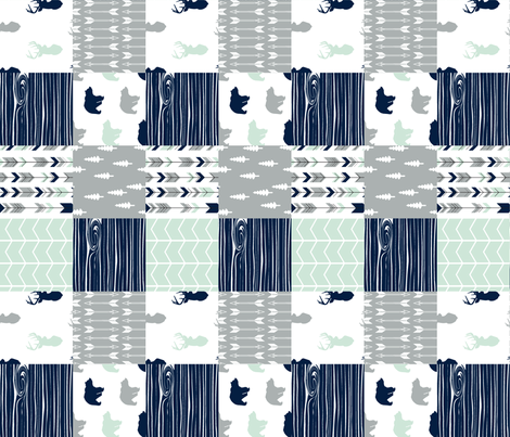 northern lights patchwork quilt top (90) - woodgrain fabric by littlearrowdesign on Spoonflower - custom fabric