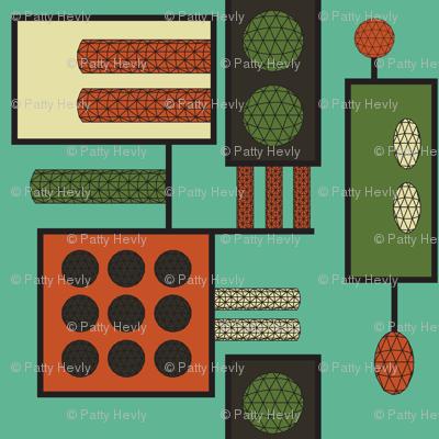 Retro Abstract Geodesic - teal, green, orange