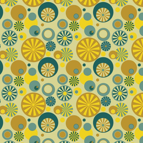Circle Frenzy - Retro - Gold and Blue