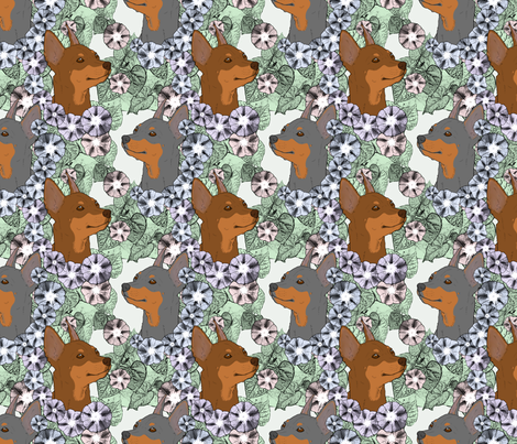 Floral Miniature Pinscher portraits B fabric by rusticcorgi on Spoonflower - custom fabric