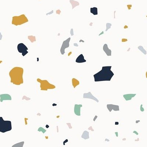 Jumbo Terrazzo Print  - Navy, Green, Grey, Mustard and Pink