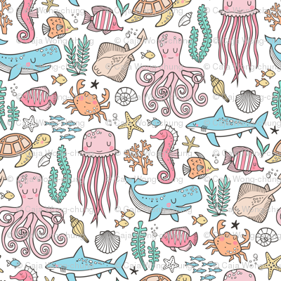Ocean Marine Sea Life Doodle with Shark, Whale, Octopus, Yellyfish, Seaturtle on White
