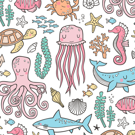 Ocean Marine Sea Life Doodle with Shark, Whale, Octopus, Yellyfish, Seaturtle on White fabric by caja_design on Spoonflower - custom fabric