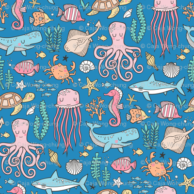 Ocean Marine Sea Life Doodle with Shark, Whale, Octopus, Yellyfish, Seaturtle on Dark Blue Navy
