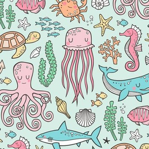 Ocean Marine Sea Life Doodle with Shark, Whale, Octopus, Yellyfish, Seaturtle on Soft Mint Green