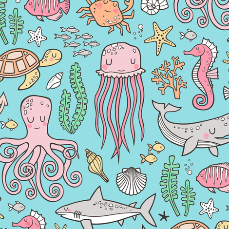 Ocean Marine Sea Life Doodle with Shark, Whale, Octopus, Yellyfish, Seaturtle on Blue fabric by caja_design on Spoonflower - custom fabric