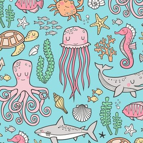 Ocean Marine Sea Life Doodle with Shark, Whale, Octopus, Yellyfish, Seaturtle on Blue