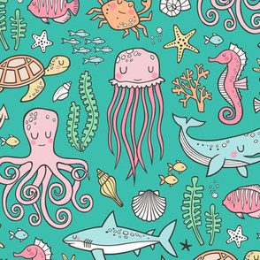 Ocean Marine Sea Life Doodle with Shark, Whale, Octopus, Yellyfish, Seaturtle on Green