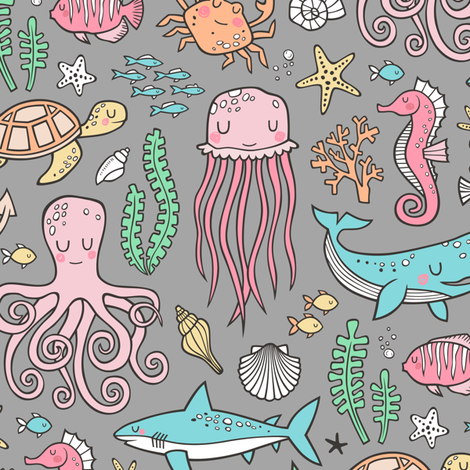 Ocean Marine Sea Life Doodle with Shark, Whale, Octopus, Yellyfish, Seaturtle on Grey fabric by caja_design on Spoonflower - custom fabric