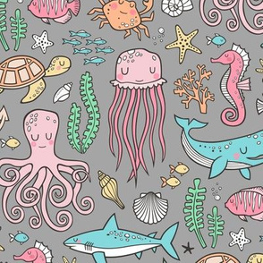 Ocean Marine Sea Life Doodle with Shark, Whale, Octopus, Yellyfish, Seaturtle on Grey