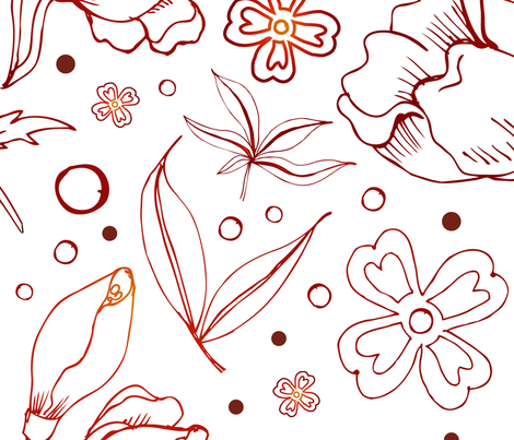 Foliage Line Art fabric by atelier_seneca on Spoonflower - custom fabric
