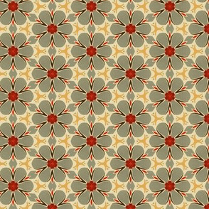 Mid Century 1950s Muted Floral