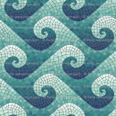 wave mosaic - navy, teal, white