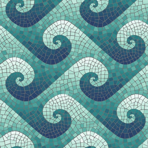 wave mosaic - navy, teal, white