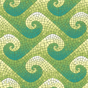 wave mosaic - teal, green, yellow, white