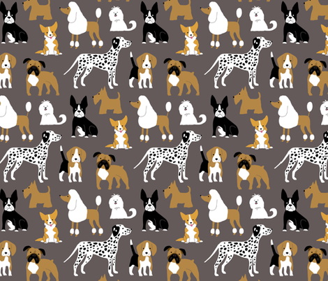 Dogs on brown fabric by heleen_vd_thillart on Spoonflower - custom fabric