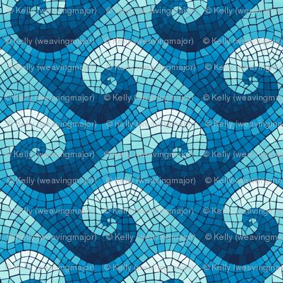 wave mosaic - navy, blue, cyan, aqua, white