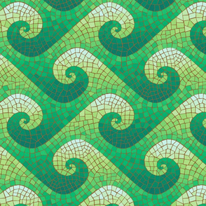 wave mosaic - green waves on brown