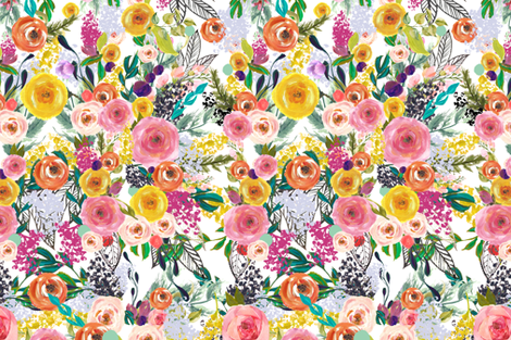 Autumn Blooms, EXTRA LARGE // White  fabric by theartwerks on Spoonflower - custom fabric