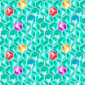 Watercolor hexagons in emerald green