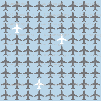 Jets Jets Jets - Gray & White on Lt Blue