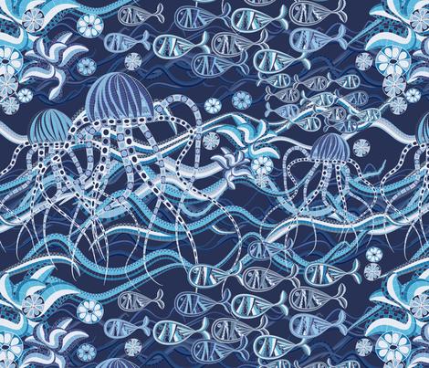 Underwater Mosaic Fabric Kociara Spoonflower