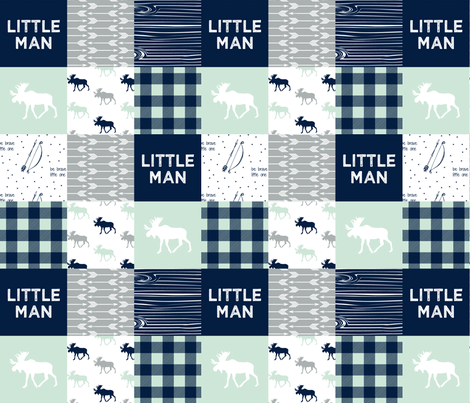 Little Man Patchwork Fabric - Northern Lights Collection fabric by littlearrowdesign on Spoonflower - custom fabric