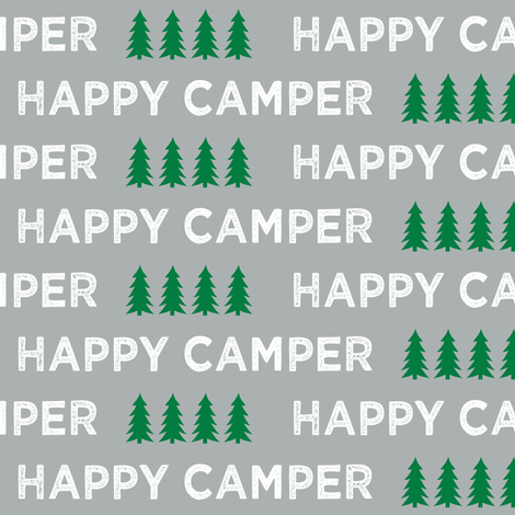 happy camper || grey and green fabric by littlearrowdesign on Spoonflower - custom fabric
