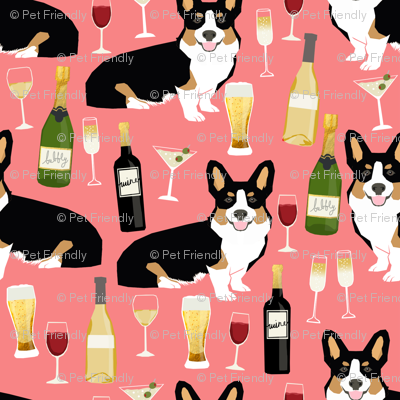 corgi tricolored fabric - yappy hour fabric beer and wine themed fabric dogs design