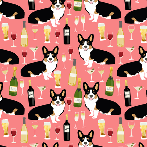 corgi tricolored fabric - yappy hour fabric beer and wine themed fabric dogs design fabric by petfriendly on Spoonflower - custom fabric