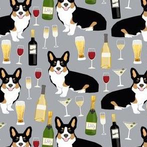 tricolored corgi fabric beer and wine themed corgi design