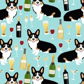 tricolored corgi wine fabric dogs and beer fabric