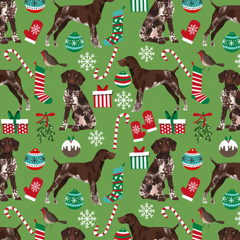 german shorthaired pointer christmas dog fabric dogs and holiday xmas fabric fabric by petfriendly on Spoonflower - custom fabric