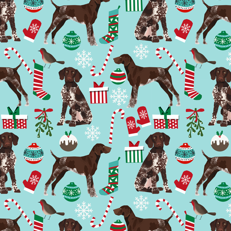 german shorthaired pointer dog christmas fabric dog christmas design fabric by petfriendly on Spoonflower - custom fabric
