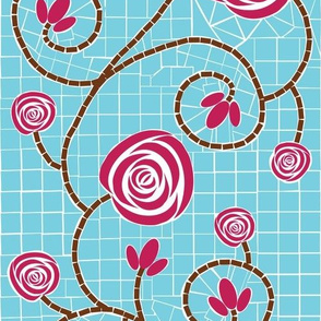 Rose Tile in Raspberry and Blue
