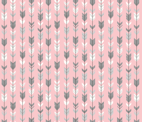 Small Arrow Feathers -  grey and pink  fabric by sugarpinedesign on Spoonflower - custom fabric