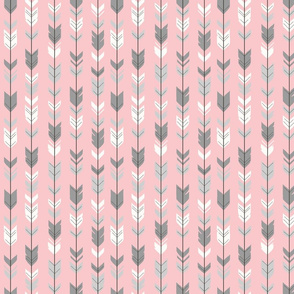 Small Arrow Feathers -  grey and pink