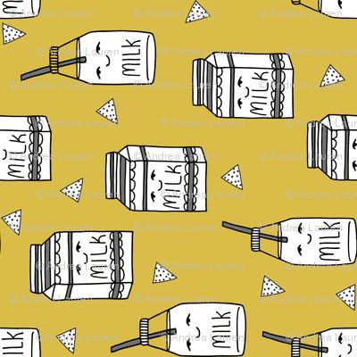 milk fabric // yellow milk jug fabric railroad hand-drawn andrea lauren style fabric