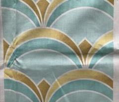 Deco Fan Pattern Mint and Gold