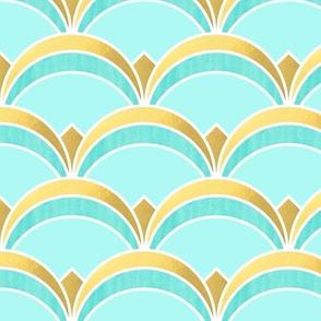 Art Deco Fan Pattern Mint and Gold