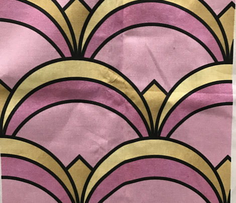 Art Deco Fan Pattern in Pink and Gold