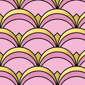 Fan Pattern in Pink and Gold