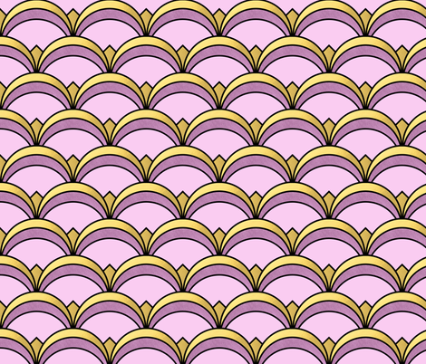 Art Deco Fan Pattern in Purple and Gold fabric by suzzincolour on Spoonflower - custom fabric