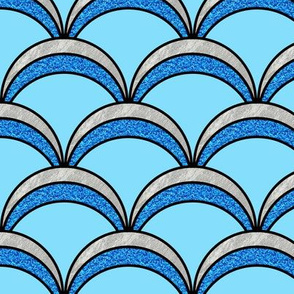 Blue Glitter Art Deco Memermaid Scales Pattern
