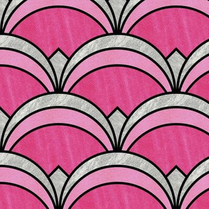 Super Pink and Silver Art Deco Inspired Pattern