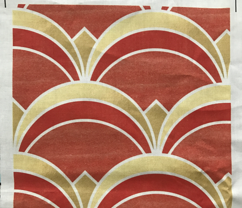 Fan Pattern in Gold and Burnt Orange