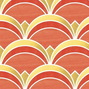 Art Deco Fan Pattern in Gold and Burnt Orange