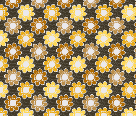 Rainy Day Flowers - Gilded Room fabric by siya on Spoonflower - custom fabric