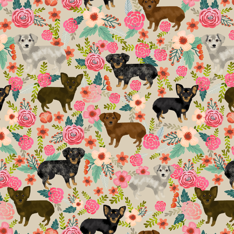 chiweenie florals fabric dog dogs fabric fabric by petfriendly on Spoonflower - custom fabric