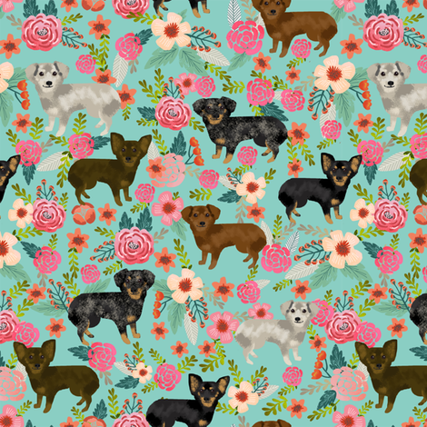 chiweenie  floral dog fabric cute dogs fabric dog design fabric by petfriendly on Spoonflower - custom fabric